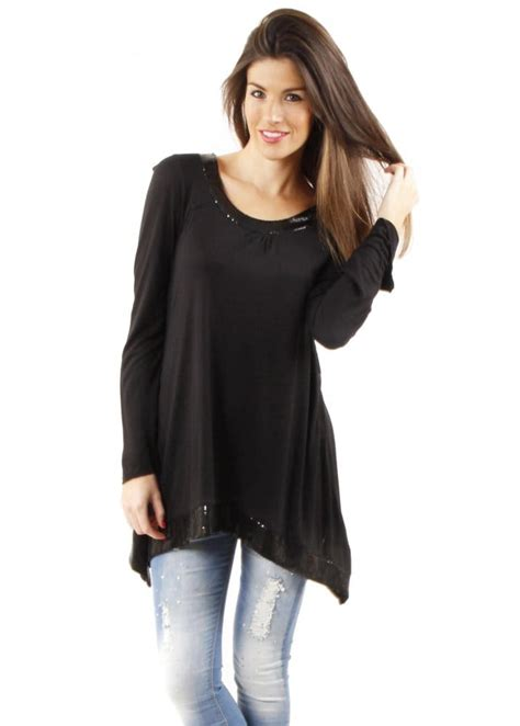 Black Tunic top | Sequinned Tunic Top | Cheap Black Top