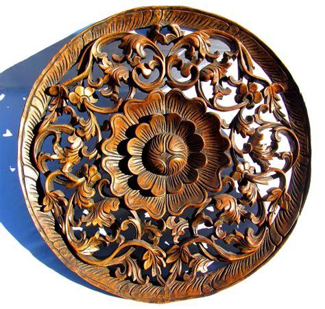 incredible teakwood lotus flower panel  hand carved