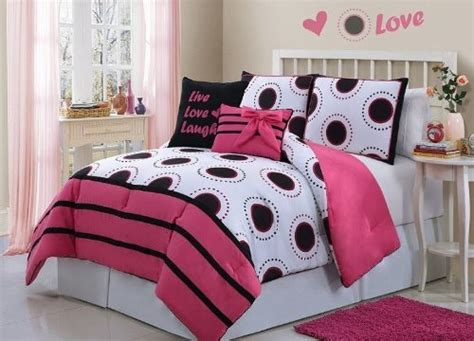 black pink and white bedroom pink black and white bedding sweetest slumber 18350 | Hot Pink Black White Girls Polka Dots Twin Comforter Set B00J4NXKPG