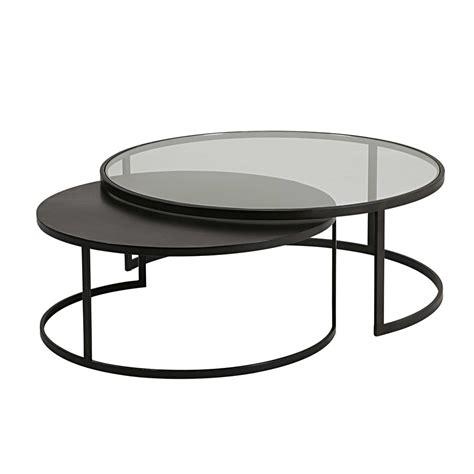 table basse en verre trempe  metal noir le bois chez vous