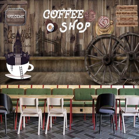 custom  wallpaper london style coffee shop background