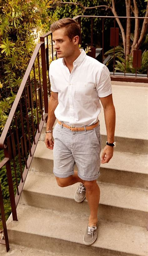 Menu0026#39;s White Short Sleeve Shirt Grey Vertical Striped Shorts Grey Low Top Sneakers Tan Leather ...