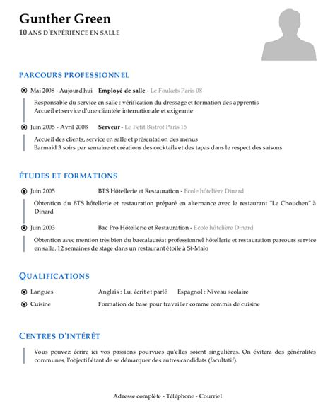 Cv Francais Simple by Modele De Cv Simple Francais Comment Cr 233 Er Un Cv