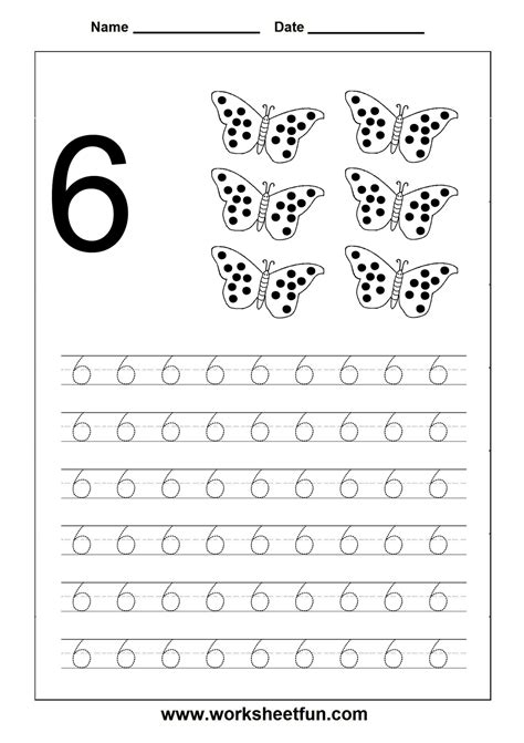 number tracing worksheet 6 sayılar