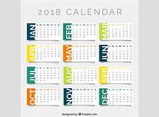 2018 calendar template Vector Free Download