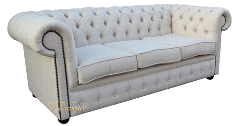 Chesterfield Settee by Chesterfield 3 Seater Settee Zoe Plain Parchment Fabric