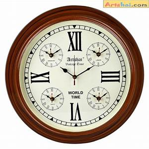 Artshai, Antique, Look, Wall, Clock, With, World, Time, 5, Countries, Time, Wooden