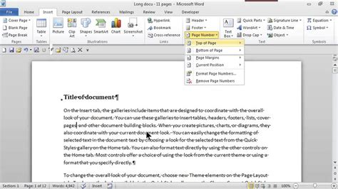 add page numbers   top  corner ms word