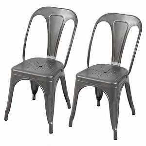 Chaise En Acier : chaise en m tal atelier gris acier lot de 2 koya design ~ Teatrodelosmanantiales.com Idées de Décoration