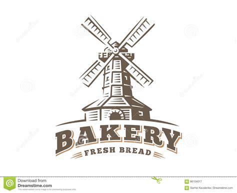windmill logo vector illustration bakery emblem