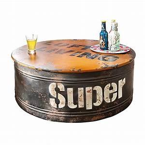 Table Basse Style Industriel : table basse design baril d 39 huile style industriel en bois ~ Melissatoandfro.com Idées de Décoration
