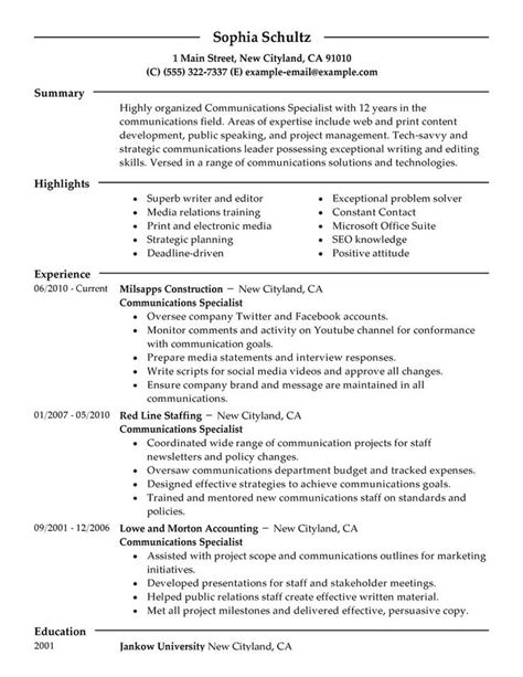 Communications Specialist Resume Exles by Big Communications Specialist Exle Modern 2 Design This Is A Great Exle Of A