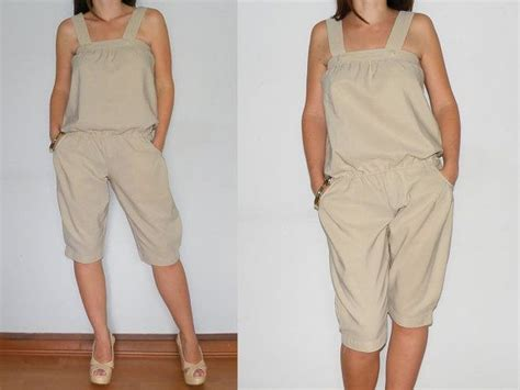 Casual Jumpsuit Overalls Capri Pants In Beige For By