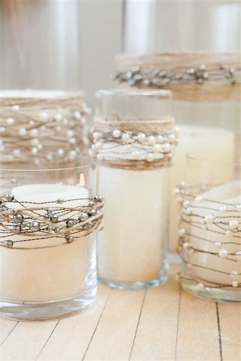 Pearls For Decoration - pearls on wire garland with jute twine for rustic wedding