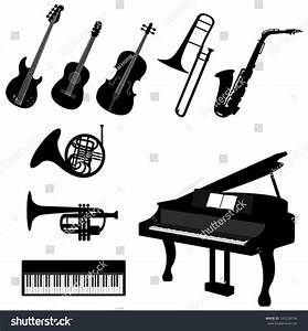 Set Silhouette Classical Jazz Musical Instrument Stock ...