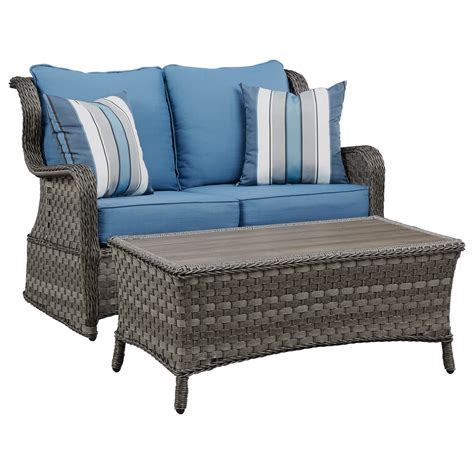 Loveseat Glider Outdoor by Signature Design By Abbots Court Outdoor Loveseat