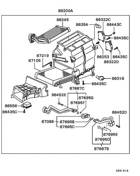heater unit piping for 2001 2003 mitsubishi pajero montero v73w japan sales region