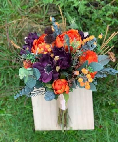 Orange Burnt Bouquet Purple Artificial Flower Autumn