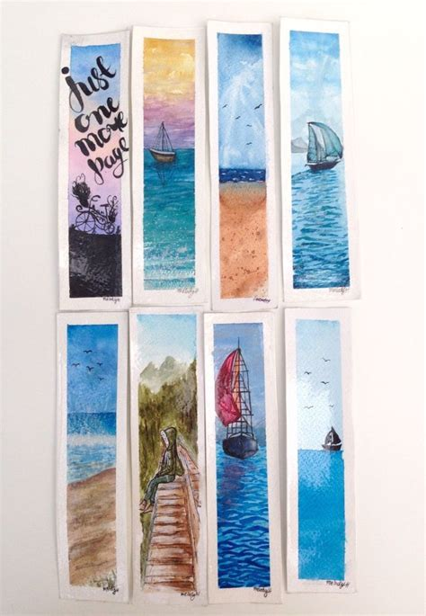 details  hand painted watercolour bookmarks