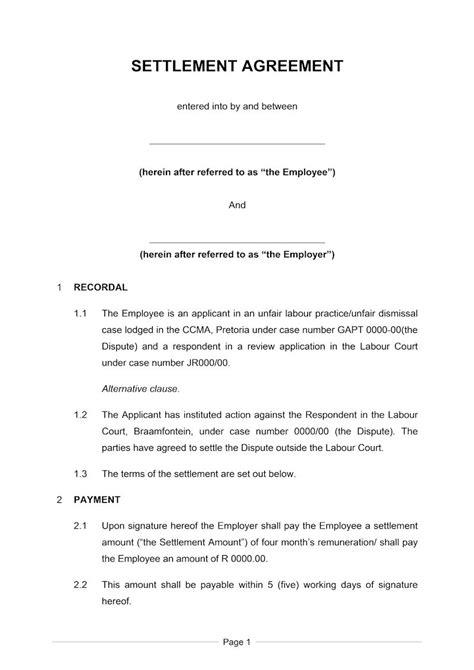 settlement agreement short document labour law south