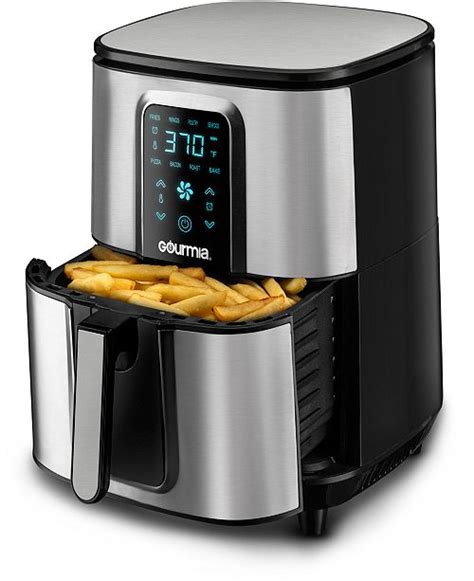 gourmia fryer air digital stainless steel qt basket oil 1700 watt healthy pan recipe presets frying display appliances kitchen fryers
