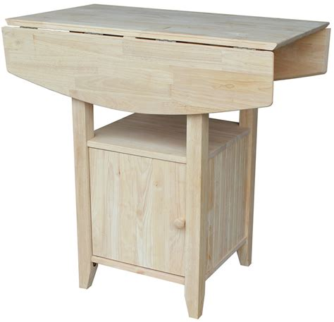 Pub tables & bistro sets. Solid Wood 38''W X 36''H Dual Drop Leaf Counter Height Bistro Table with Storage Cabinet ...