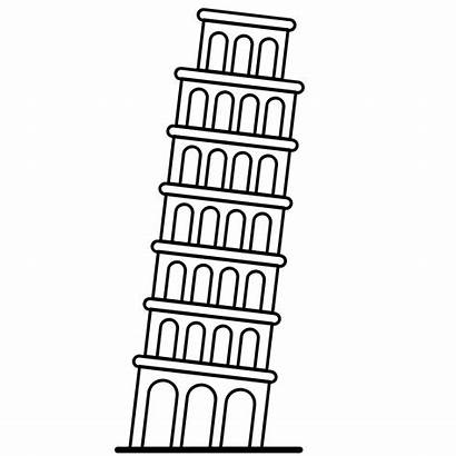 Pisa Tower Leaning Drawing Italy Clipart Icon