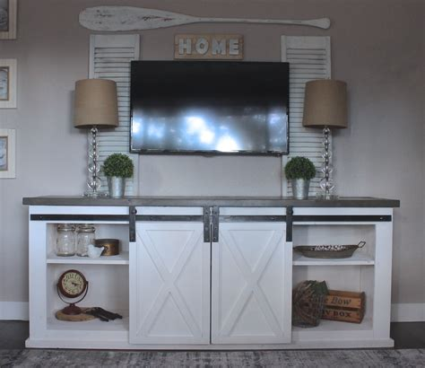 farmhouse sliding door cabinet ana white sliding barn door console diy projects