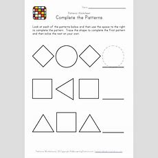 Kindergarten Pattern Worksheets  Easy Preschool Patterns Worksheet #1  Black And White