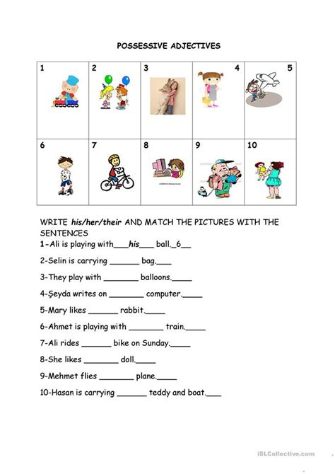 144 free esl possessive adjectives worksheets