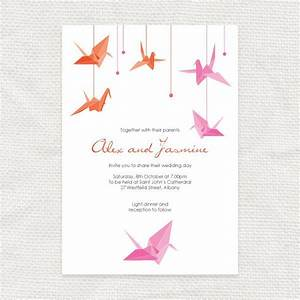 Paper crane invitation printable file origami wedding for Origami wedding invitations from paper bird design