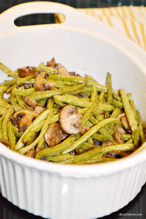 roasted green beans  mushrooms  balsamic