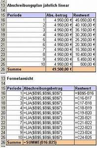 Excel Tabelle Summe Berechnen : excel tipp abschreibungen berechnen mit den abschreibungsfunktionen ~ Themetempest.com Abrechnung