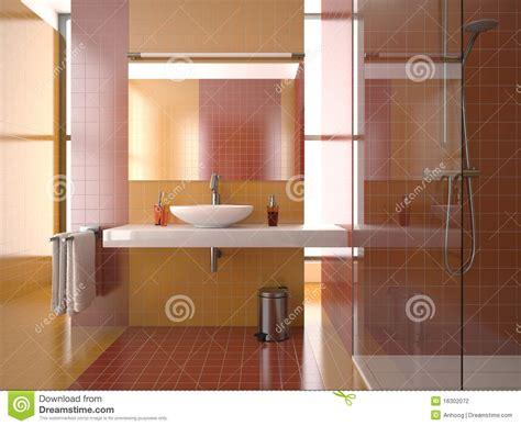 Badezimmer Fliesen Orange by Modern Bathroom With And Orange Tiles Stock