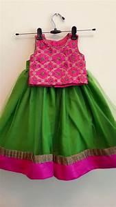 Crop Top Dress Designs Green N Pink Kids Designer Dresses Indian Dresses For