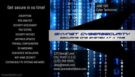 cybersecurity business card template postermywall