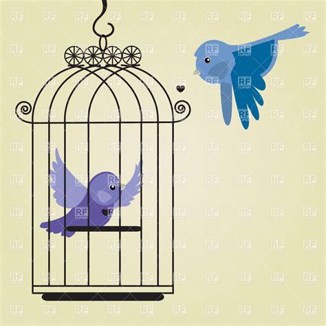 blue bird  birdcage vector image  plants