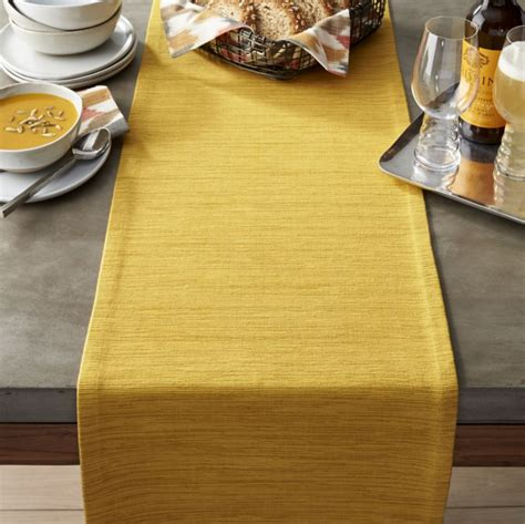 yellow gold table runner grasscloth 90 quot mustard table runner crate and barrel
