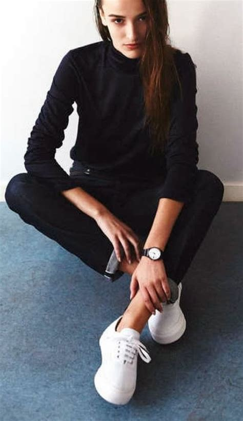 All Black Outfit With White Shoes