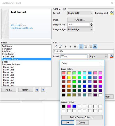 change default font color  business card  outlook  microsoft community