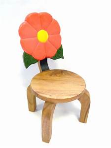 Simple Wooden Childrens Chairs Floral Back Minimalist