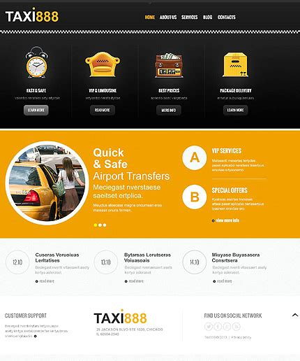 Black Responsive Joomla Template by White Black Taxi Joomla Template By Delta Bootstrap
