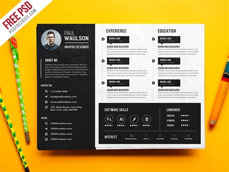 creative horizontal cv resume template psd 72pxdesigns