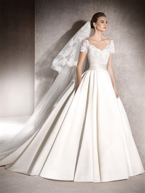 silver bridesmaids dresses beautiful princess style melisa sleeve lace bodice bridal gown with pocket satin skirt