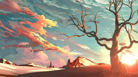 Digital Painting Wallpaper by Artwork Landscape Sky Mountain Nature Trees Snow