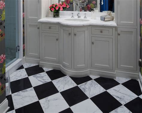 Black And White Marble Bathroom Floor Tiles Ideas And