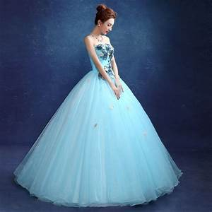 strapless appliques flower grey sky blue wedding dress With sky blue wedding dress