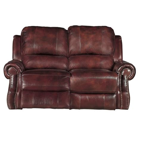 Burgundy Loveseat by 69 Quot Burgundy Leather Match Power Reclining Loveseat