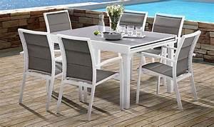 Salon De Jardin Blanc : salon de jardin blanc et gris 6 personnes table fauteuils ~ Teatrodelosmanantiales.com Idées de Décoration
