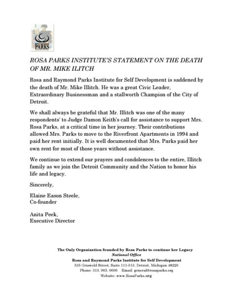Rosa Parks Institute Statement On The Death Of Mr Mike